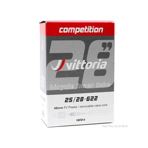 Vittoria Competition Latex Tube 700 x 25/28 French Valve 48mm w Removable Valve Core