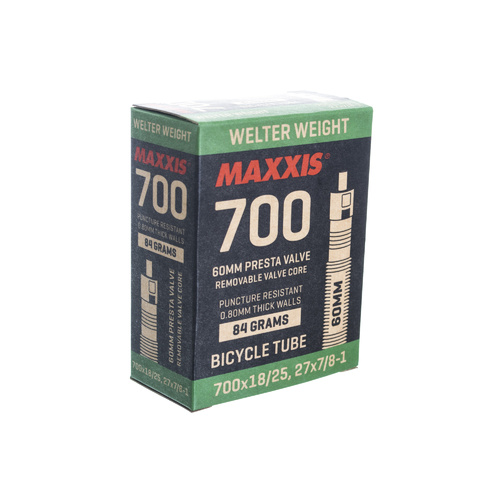 Maxxis 700x25/32 60mm Welter Weight Tube w Presta Valve + Removable Valve Core
