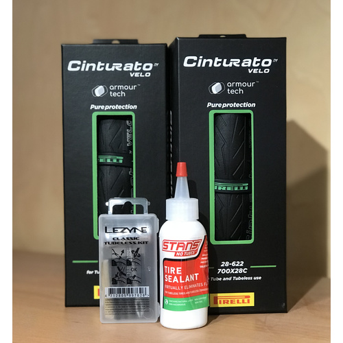 Tubeless Ready Kit (2x Pirelli Cinturato Velo Tyres/Tubeless Repair Kit/Tire Sealant)